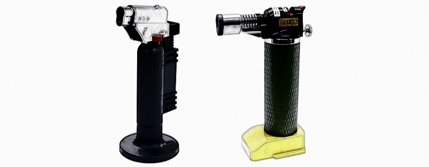 Microflame Burners, with controllable gas and air supply.