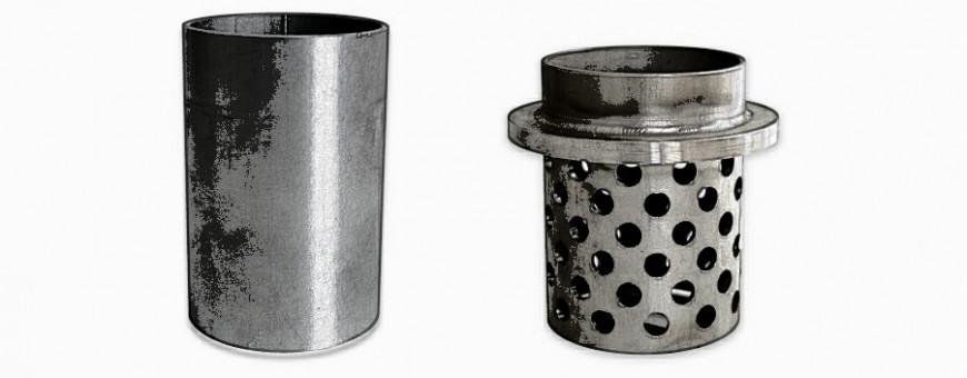 Cilindri in acciaio inox per la cottura del rivestimento.