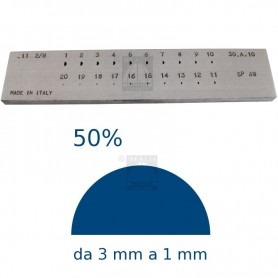 Half round Steel drawplate 50% from 3 to 1 mm