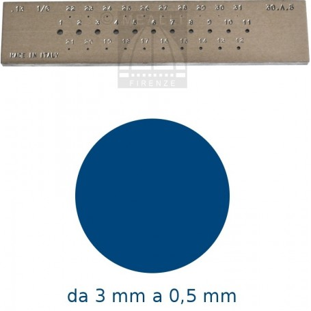 Round Steel drawplate from 3 to 0,5 mm