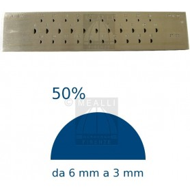 Half round Steel drawplate 50% from 6 to 3 mm