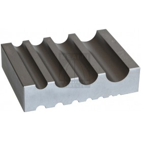 Steel bench block with 12 half round slots