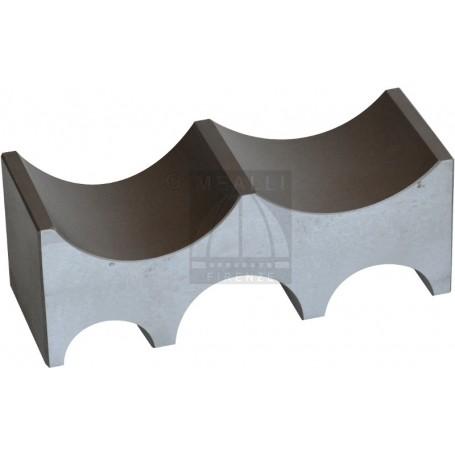 Steel bench block with 5 half round slots