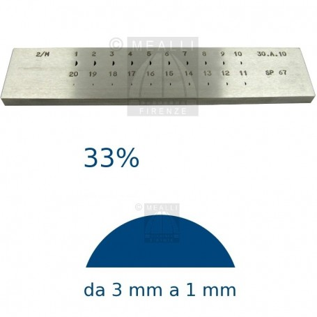 Half round Steel drawplate 33% from 3 to 1 mm