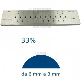 Half round Steel drawplate 33% from 6 to 3 mm