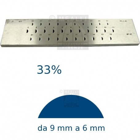 Half round Steel drawplate 33% from 9 to 6 mm