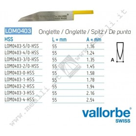 Vallorbe HSS Onglette Graver for engraving machines