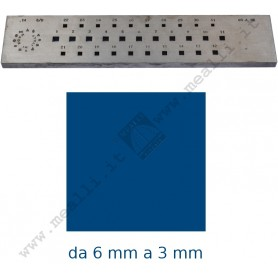 Square Steel drawplate from 6 to 3 mm