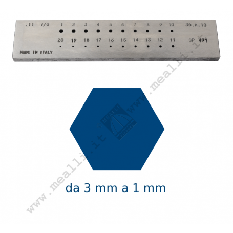 Hexagonal Steel drawplate from 3 to 1 mm