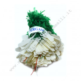 Parchment price tags with green wire mm 14 x 6