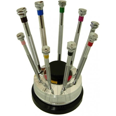 Set of 9 screwdrivers in a revolving base